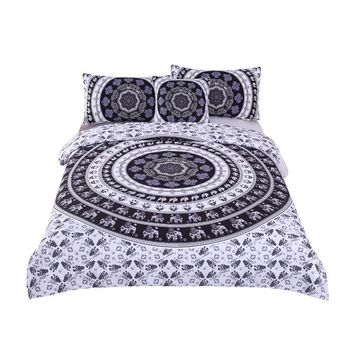 Vanitas Bedding Set Queen Size Bohemia  Duvet Cover Set Indian Black and White Quilt Cover 4Pcs Hot