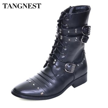 Tangnest NEW Mid-calf Boots Split Leather Rivets Motorcycle Boots