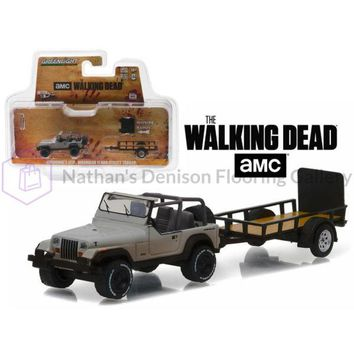 Michonne\s Jeep Wrangler YJ and Utility Trailer \The Walking Dead\ (2010-Current TV Series) Hitch & Tow Series 8 1/64 Diecast Model Car  by Greenlight