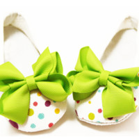 Lime Bow Embellished Rainbow Dots Crib Shoes