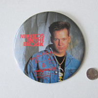 """80s/90s JUMBO 6"""" Donnie Wahlberg Pinback Button // New Kids on the Block, NKOTB // Retro Hipster, Throwback Old School Boy Band Memorabilia"""