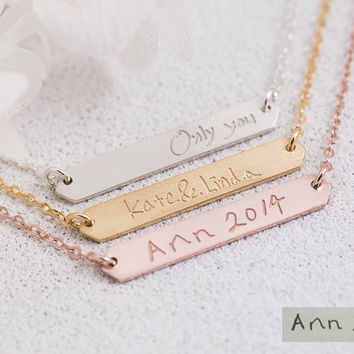 Handwriting Bar Necklace, Name Plate,Handwritten Signature,Drawing,Bridesmaid Gift, Gift for Her, Gold, Rose Gold, Silver,LUVINMARK,LVMKA8