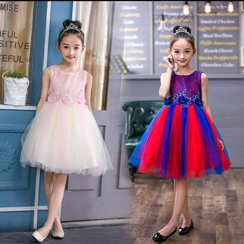 2017 Summer Flower Girl Rainbow Dresses White Stain Dress for Children Toddler Kids Piano Latin Dance Costume Wedding Tutu Dress