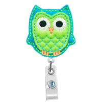 Cute Blue and Lime Owl - Name Badge Holder - Nurses Badge Holder - Cute Badge Reels - Unique ID Badge Holder - Felt Badge - RN Badge Reel