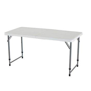 Adjustable Height White HDPE Folding Table with Powder Coated Steel Frame