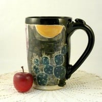 Big handmade mug with cactus CM1 SHIPS TODAY Coffee cup - teacup / beer stein or tankard holds 20 ounces