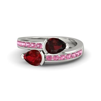 Pear Ruby 18K White Gold Ring with Red Garnet & Pink Tourmaline