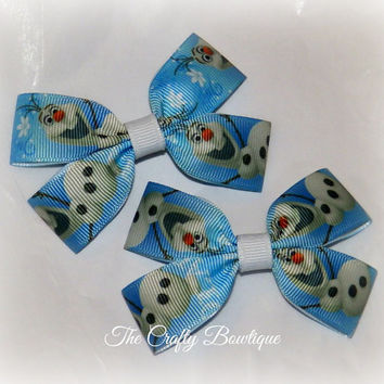 Olaf ~ Clippie Pigtail Hair Bow Set ~ Frozen Hair Bow ~ Blue and White ~ Winter Hair Bows ~ Snowman Hair Bows ~ Small Hair Bows ~ Baby Bows