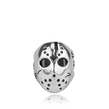 Vintage Friday the 13th Black Friday Jason Voorhes Hockey Mask Biker Zinc Alloy Ring Fashion Men Jason Mask Party Halloween Gift