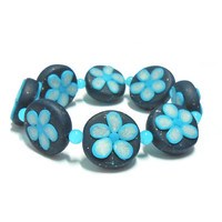Blue Flowers Boho Bracelet - Bohemian Bracelet with Blue and Turquoise Beads - Blue Flowers Beads - Polymer Clay - Selsal