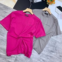 """""""Balenciaga"""" Unisex Oversize Simple Solid Color Small Letter Logo Short Sleeve Couple T-shirt Top Tee"""