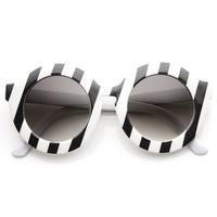 Womens Fashion Oversized Bold Round Sunglasses