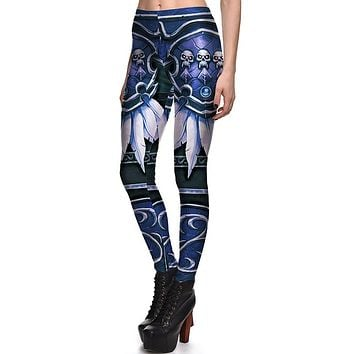Feather Skull Printed Polyester Women Leggings