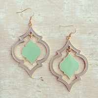 MOROCCAN MINT MOTIF EARRINGS