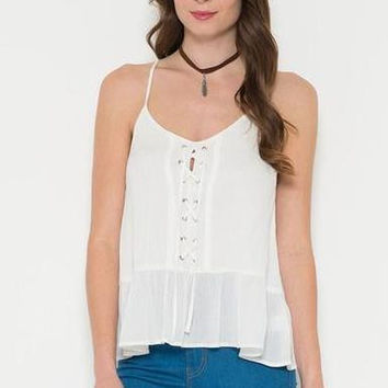 Front Lace Up Tank Top - White