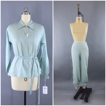 Vintage 1940s Pajamas Set / 40s PJs / Pale Sea Green Knit Pajama / Vanity Fair Loungewear / Deadstock with Tags / Size Small S