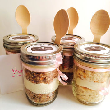 Jar Cake, Cupcake in a Jar, Gluten Free, Low Sugar, High Protein, Buttercream Frosting, Wedding Favor, Birthday, Graduation, Mason Jar
