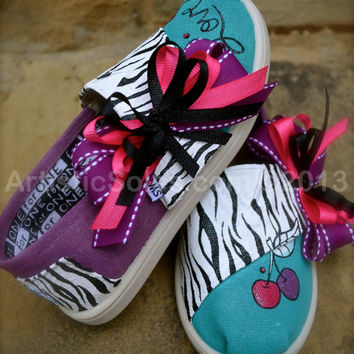 Hand Painted Custom TOMS - Zebra - Cherries - and Love -Toddler/Tiny