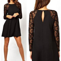 2015 New Spring and Summer Brand New Sexy Party Evening Casual Fashion and work Black Long Sleeve Contrast Lace Geometric Print Dress