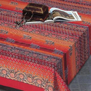 Handmade Cotton Paisley Good Luck Elephant Tapestry Tablecloth Bedspread Twin Orange