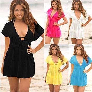 YCDYZ Women Sexy Lace Deep V-Neck Beach Dress Cover Ups Swimsuit Short Sleeve Cover Up Women Loose Blouse Beachwear Dresses