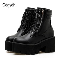 SHOES BOOTS Ankle For Women Motorcycle Boots Chunky Heels Casual Lacing Round Toe Platform Boots Shoes Female