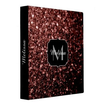 Beautiful Glam Brown Red Glitter sparkles Monogram 3 Ring Binder