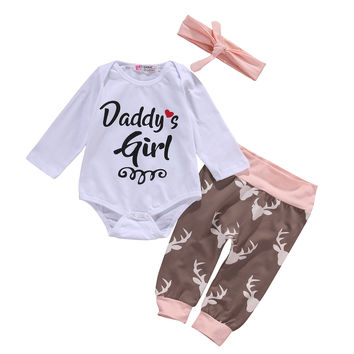 New 2016 fashion baby girls clothes baby clothing set Baby Girl Clothes Romper Pants Bodysuit Outfits Set+Headband