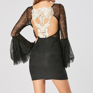 Skull Long Flare Sleeve Lace Dress Hollow Out Eye Lace Stitching Backless Dress