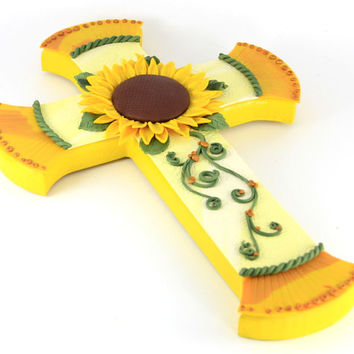 Gentle Sunflower, Large Mosaic Cross, Handmade Cross, Unique Wall Cross, Decorated Crosses, Religious Decor, Crosses for Sale