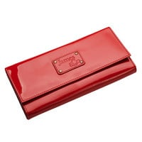 Red Leather Wallet Ladies Threefold Faux Leather  Amelia Red Patent - James&Co