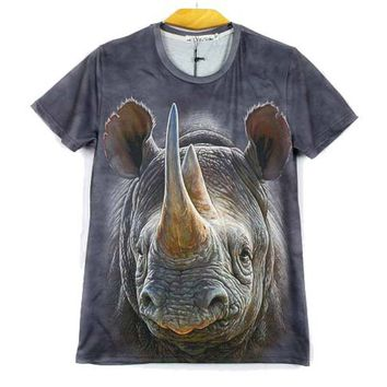 Realistic Rhino All Over Photo Graphic Print T-Shirt in Grey | Gifts for Animal Lovers