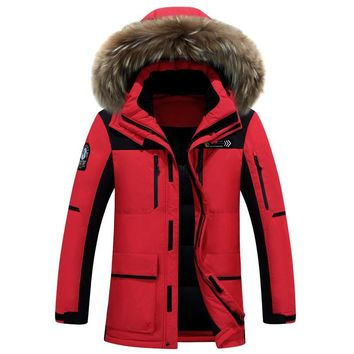 Long Thick Fur Collar Detachable Cap Men Down Jacket