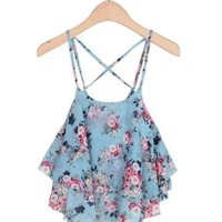 PrettyGuide Flowy Floral Chiffon Overlay Adjustable Strap Crop Top Tank
