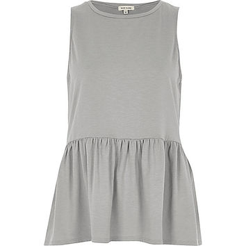 Grey peplum tank top