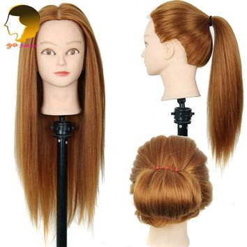 Training Head Synthetic Hair Mannequin Head For Practice Dummy Hairstyles Long Hair And Natural Head Of Training For Hairdresser