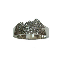 Flatirons Mountain Ring - sterling silver mountain scene ring - Boulder, Colorado - nl122