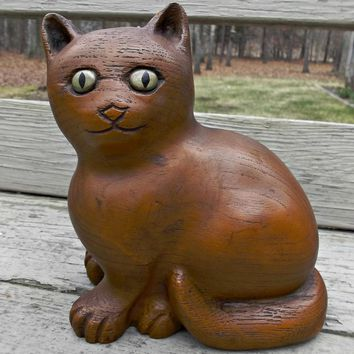 Carved Vintage Wood Cat Bookend Door Stopper Figurine Signed