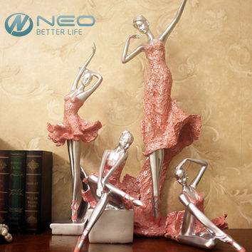 Girl Statue Ballerina Dancer Lady Figurine Home Decor(Pink Color)