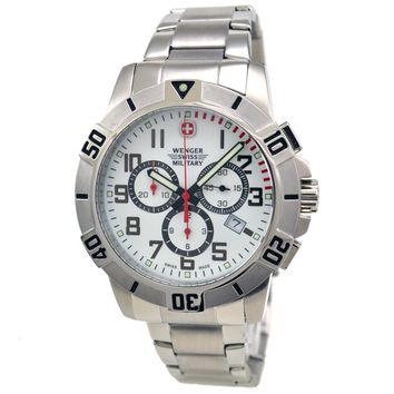 Wenger 79039 Men's Swiss Military Chronograph White Dial Stainless Steel Watch