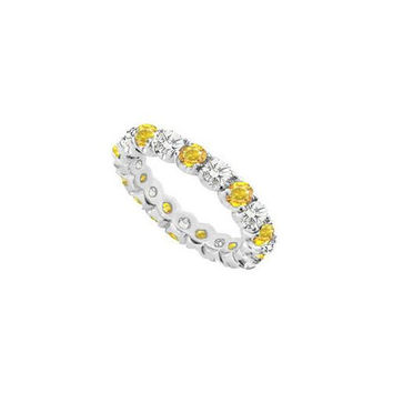 14K White Gold Yellow Sapphire and Cubic Zirconia Prong-Set Eternity Band 7.00 CT TGW