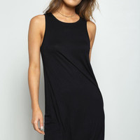 Sleeveless Shift Swing Mini Dress Black