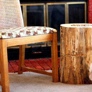 Wood Stump Table - Tree Stump Table - Reclaimed wood Side Table