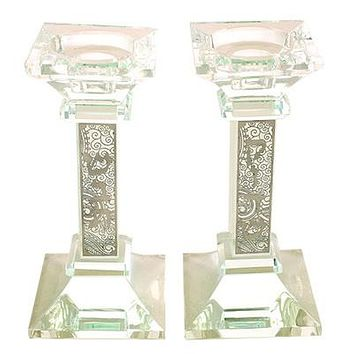 Crystal Candlesticks 16*8cm- With Decorative Stones