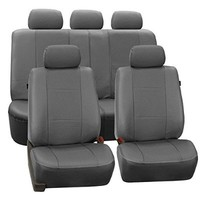 FH-PU007115 Deluxe Leatherette Full Set Seat Covers, Airbag compatible and Rear Split, Gray color- Fit Most Car, Truck, Suv, or Van