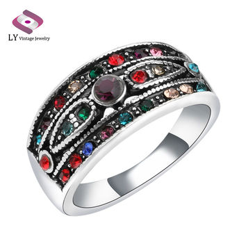 Retro Colorful Crystal Women Jewelry New Fashion Vintage Silver Color Rings For Women Cheap Sale Free Shipping