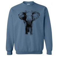 Elephant Sweater - Unisex Fleece Pullover Sweatshirt - Unisex - Men Womens Elephant Sweatshirt - Elephants - Gift - S M L Xl Xxl