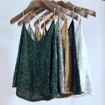 DKF4S 2017 Women Sequined Camis V-Neck Backless Tank Tops Summer Sexy Camis Tops