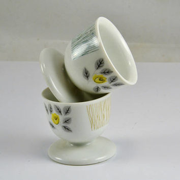 Arzberg Germany Egg Cups - 2 Single - 1 Gold Grass 1 Green Grass - Yellow Rose Gray Leaves