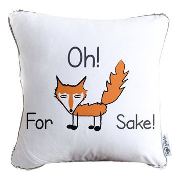 For Fox Sake Throw Pillow w/ Reversible Gold & White Sequins - COVER ONLY (Inserts Sold Separately)